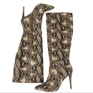 JUSTFAB Ivory Snake Print Knee High Boots